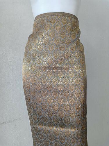 Thai Tradition Gray Synthetic Silk Fabric For Top Skirt Wedding dress Sarong