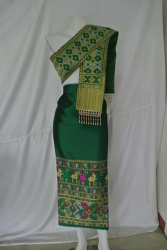 Lot 8 Lao Laos synthetic silk fabric for Clothing sinh Skirt + Pha bieng Beads