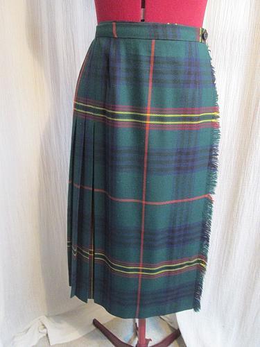 """K159 Grand Logan Tartan Wool Kilted Kilt Skirt Green Blue Plaid Waist 24-26"""""""