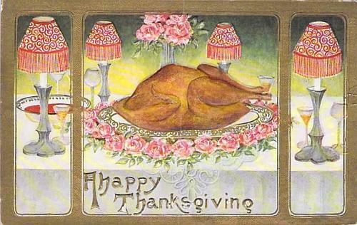 A Happy Thanksgiving, Turkey on Platter Embossed Vintage Postcard