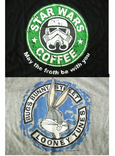 BUGS BUNNY SIZE L GREY COLOR, STAR WARS COFFEE SIZE XL BLACK COLOR T-SHIRT