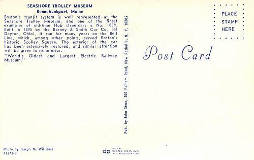 #1059 Interurban Trolley Belt Line, Boston Vintage Postcard