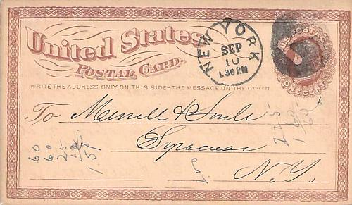 1874 UX3 New York, Negative 7 Fancy Cancel US Postal Card
