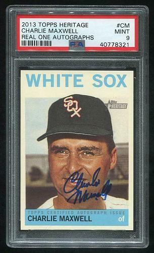 2013 TOPPS HERITAGE REAL ONE AUTO CHARLIE MAXWELL, PSA 9 MINT (40778321)