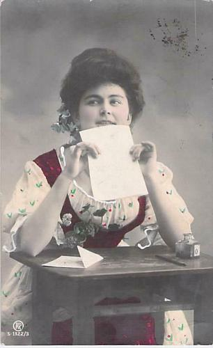Russian Young Lady Writing Letter, Tinted Real Photo RPPC Used Postcard