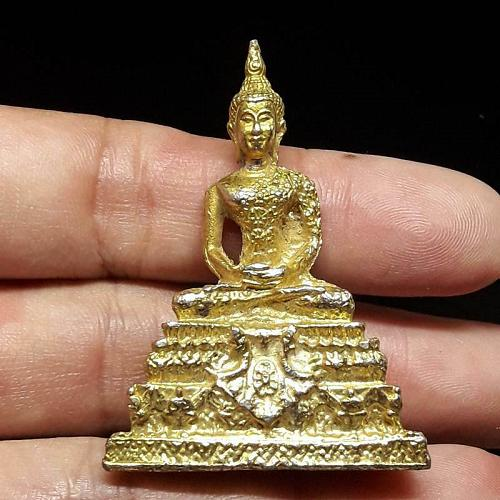 Gold Plated Artistry BUDDHA STATUE Thai Amulet Protect Charm Luck Rare Thailand