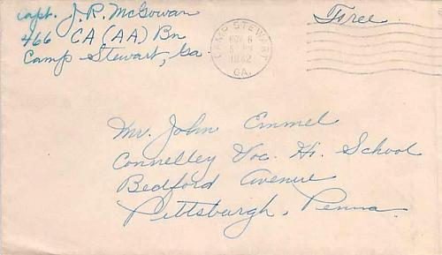 1943 WWII Free Frank Camp Stewart, GA to Pittsburgh Training Cover