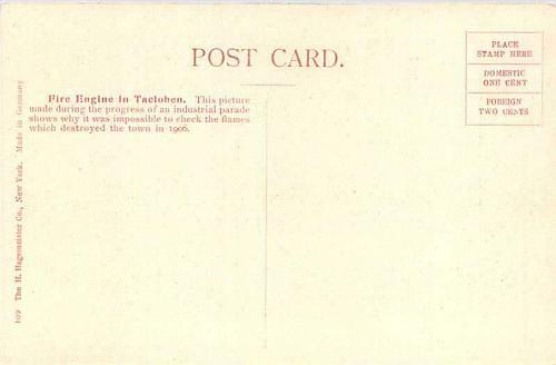 Fire Eninge in Tacloben Philippine Islands Vintage Postcard