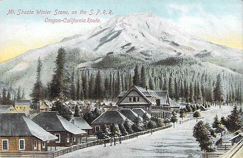 Mt. Shasta Winter Scene on the Southern Pacific Railway Vintage Postcard