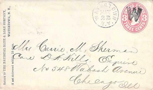 """U58 Watertown NY Fancy Cancel """"W"""" to Chicago Cover"""