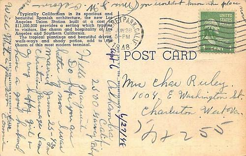 South Patio, Union Depot, Los Angeles Vintage Postcard
