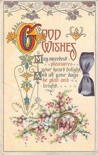Good Wishes Birthday Fancy Design Embossed Vintage Postcard