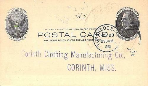 1903 UX18 Postal Card Corinth Clothing Mfg Advertising, Tuscaloosa Al. Postmark