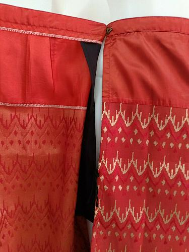 """Red Thai Lao Laos Synthetic Silk Wrap Sarong Sinh Skirt Dress Waist 30"""" Size L"""