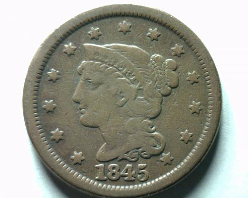 1845 LARGE CENT PENNY VERY FINE VF NICE ORIGINAL COIN FROM BOBS COINS FAST SHIP