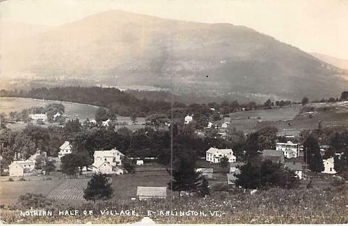 Northern Half of Village, E-Arlington Vt Real Photo RPPC Vintage Postcard