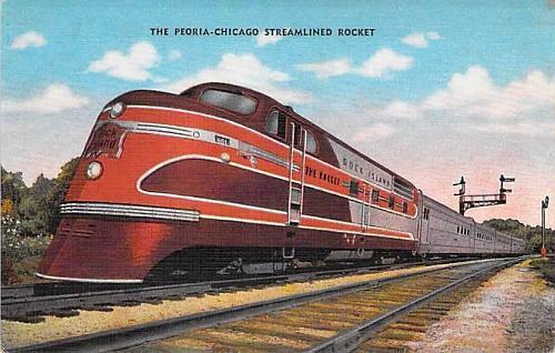 The Peoria-Chicago Streamline Rocket, Vintage Postcard