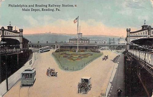Philadelphia & Reading Railway Station, Main Depot Reading PA Vintage Postcard