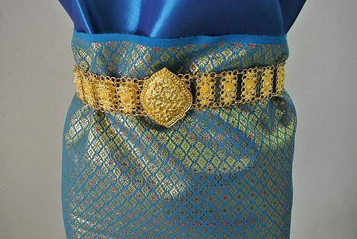 Thai Tradition Sky Blue Silk Fabric For Top Skirt Wedding dress Costume Clothing