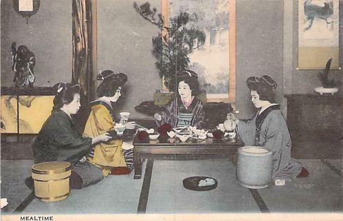 Geishas at MealtimeHand Tinted Color Vintage Japanese Postcard