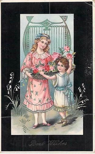 Best Wishes Children with Flowers German Embossed Vintage Postcard