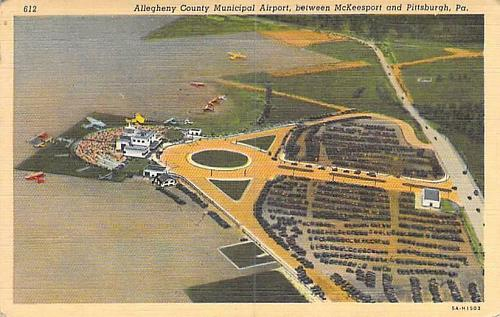 Allegheny County Municipal Airport Linen Vintage Postcard