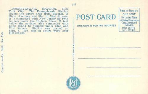Pennsylvania Railroad Station, New York City Vintage Postcard