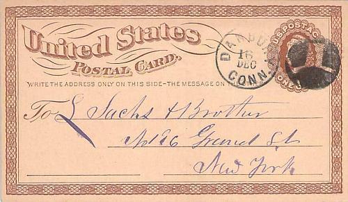 1874 UX3 Danbury Hat Co. Fancy Cancel, Cole HA-2 Postal Card to Sachs Bros.