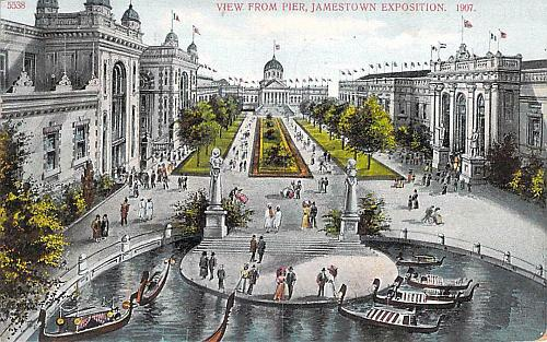 1907 View From Pier, Jamestown Exposition Used Postcard