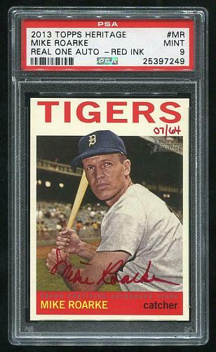 2013 TOPPS HERITAGE REAL ONE RED AUTO MIKE ROARKE PSA 9 MINT (25397249)
