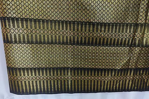Thai Tradition Black Synthetic Silk Fabric For Top Skirt Wedding dress E17
