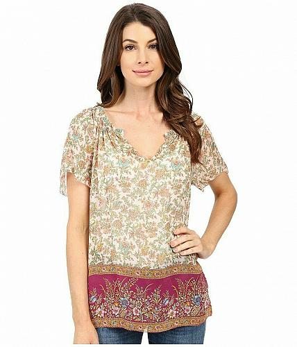 Lucky Brand Womens XS Floral Border Print Peasant Top Blouse