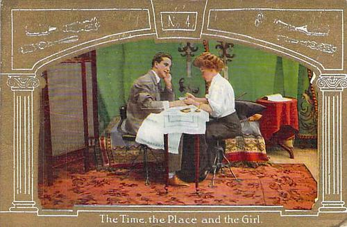 The Time the Place and the Girl Romance Vintage Postcard