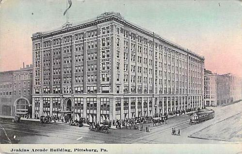 Jenkins Arcade Building Pittsburgh, PA, Tram, Autos Vintage Postcard