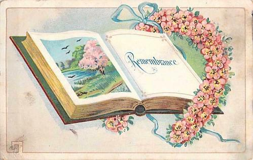 Book of Remembrance Embossed Vintage Postcard