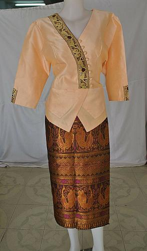 Cream Lao Laos Synthetic Silk 3/4 Sleeve Blouse Blue Sinh Skirt Outfit Size L