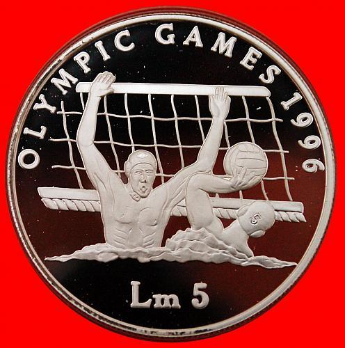 ★ USA OLYMPICS ★ MALTA 5 LIRA 1996 SILVER PROOF RARE! LOW START★NO RESERVE!