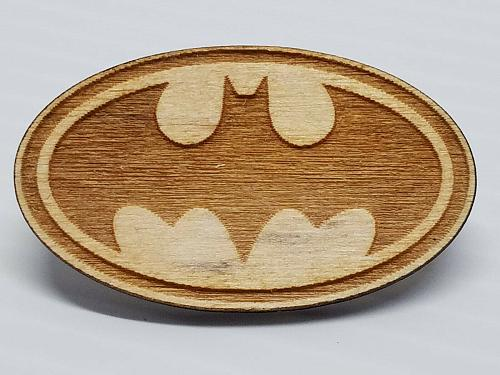 Laser Engraved Batman Wood Hat Pin