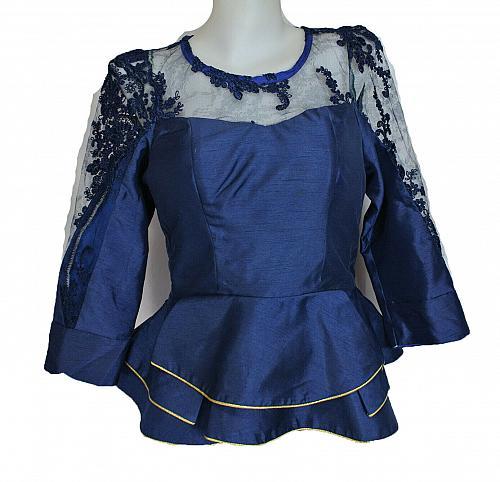 Oxford Blue Lao Laos Long Sleeve Silk Blouse Lace Classic Round Neckline Size S