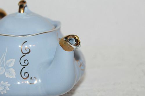 Vintage Ellgreave Bone China Tea Pot Sky Blue with White Florals
