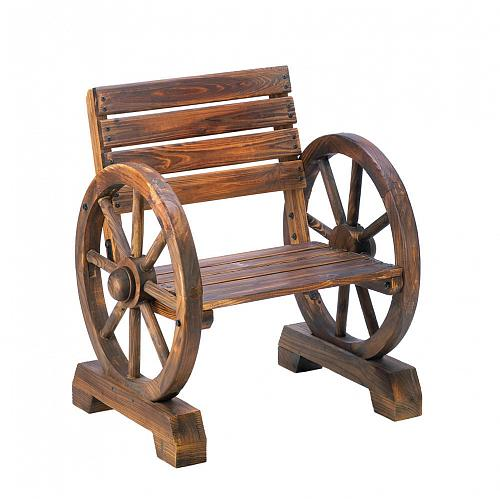 *15793U - Wagon Wheel Fir Wood Chair Outdoor Furniture