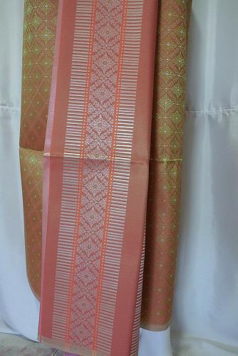 Thai Tradition Old Gold Synthetic Silk Fabric For Skirt Wedding dress Costume