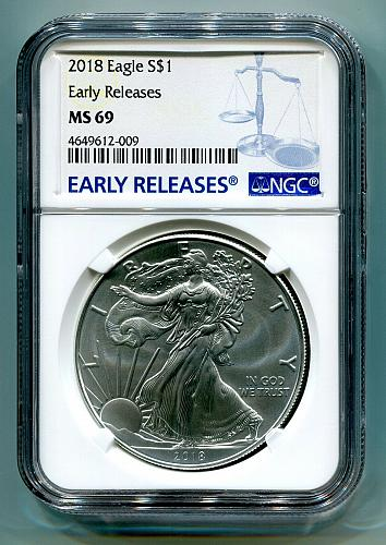 2018 AMERICAN SILVER EAGLE NGC MS69 NEW EARLY RELEASES BLUE LABEL, AS SHOWN PQ