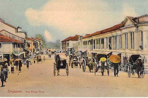 Singapore, New Bridge Road Colored Vintage Postcard