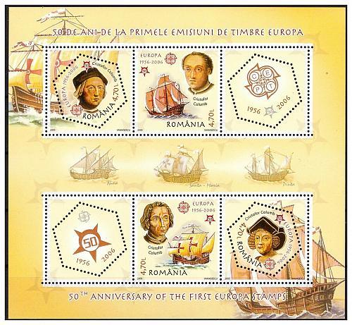 ROMANIA 2005 EUROPA / SHIPS /COLUMBUS souvenir sheet MNH