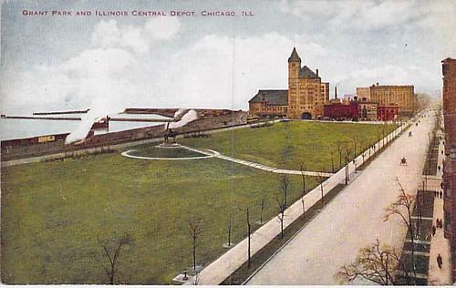 Grant Park and Illinois Central Depot, Chicago Ill. Vintage Postcard