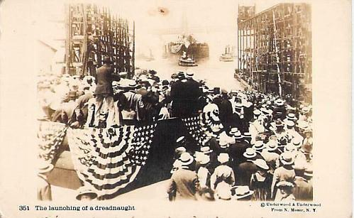 US Navy The Launching of a Dreadnaught, Real Photo Vintage Postcard