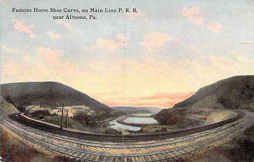 Horse Shoe Curve, Main Line Pennsylvania Railroad Altoona Vintage Postcard