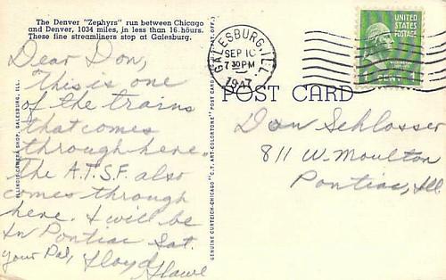 Denver Zephyr, Chicago Burlington & Quincy Railroad Galesburg Vintage Postcard