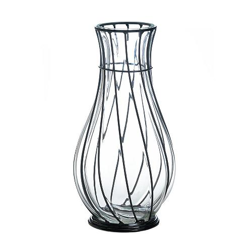 "*18242U - Short 9"" Clear Glass & Metal Art Accent Vase"